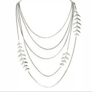 """Lucky Brand  Long Multi Chain Necklace Silver 30"""""""
